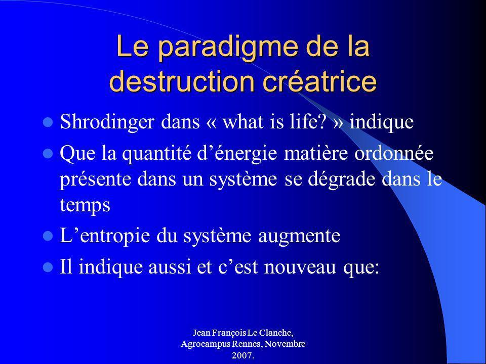 Jean François Le Clanche, Agrocampus Rennes, Novembre 2007. Le paradigme de la destruction créatrice Shrodinger dans « what is life? » indique Que la