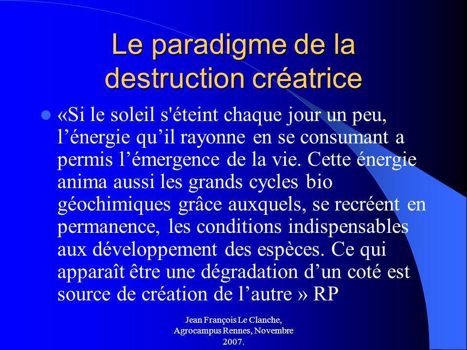 Jean François Le Clanche, Agrocampus Rennes, Novembre 2007. Le paradigme de la destruction créatrice «Si le soleil s'éteint chaque jour un peu, lénerg