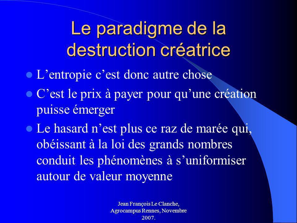 Jean François Le Clanche, Agrocampus Rennes, Novembre 2007. Le paradigme de la destruction créatrice Lentropie cest donc autre chose Cest le prix à pa