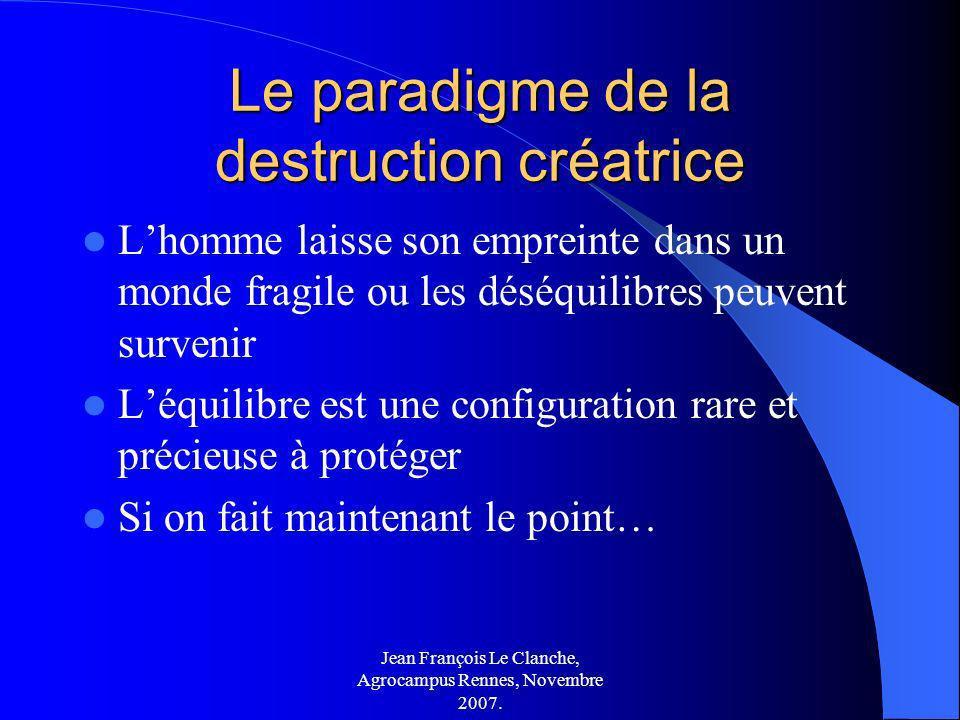 Jean François Le Clanche, Agrocampus Rennes, Novembre 2007. Le paradigme de la destruction créatrice Lhomme laisse son empreinte dans un monde fragile