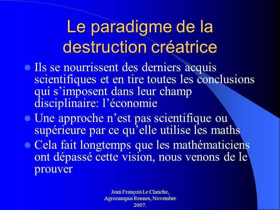 Jean François Le Clanche, Agrocampus Rennes, Novembre 2007. Le paradigme de la destruction créatrice Ils se nourrissent des derniers acquis scientifiq