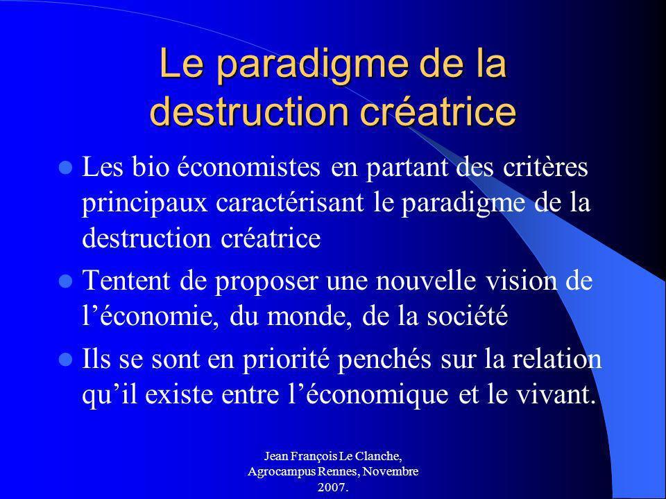 Jean François Le Clanche, Agrocampus Rennes, Novembre 2007. Le paradigme de la destruction créatrice Les bio économistes en partant des critères princ