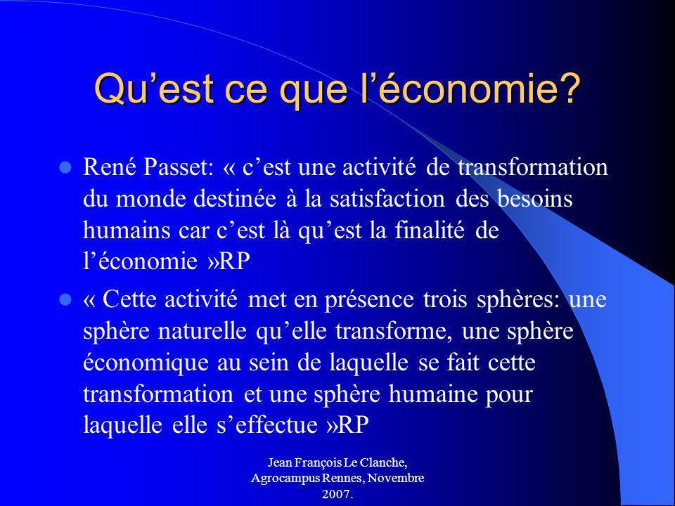 Jean François Le Clanche, Agrocampus Rennes, Novembre 2007. Quest ce que léconomie? René Passet: « cest une activité de transformation du monde destin