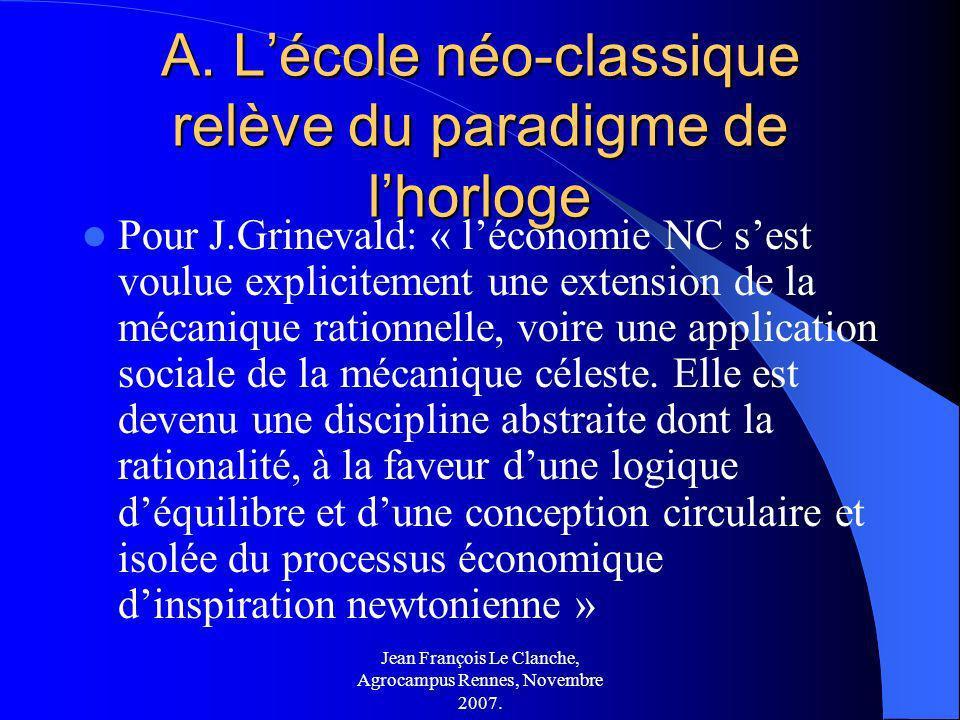 Jean François Le Clanche, Agrocampus Rennes, Novembre 2007. A. Lécole néo-classique relève du paradigme de lhorloge Pour J.Grinevald: « léconomie NC s