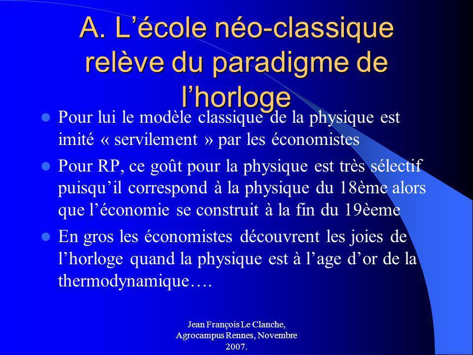 Jean François Le Clanche, Agrocampus Rennes, Novembre 2007. A. Lécole néo-classique relève du paradigme de lhorloge Pour lui le modèle classique de la