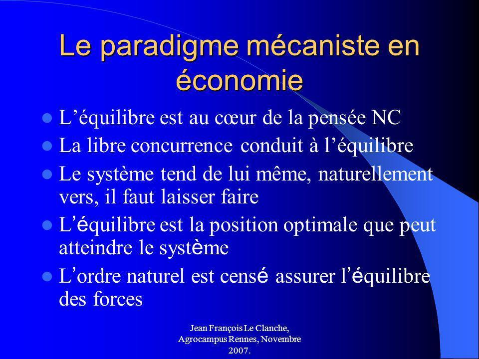 Jean François Le Clanche, Agrocampus Rennes, Novembre 2007. Le paradigme mécaniste en économie Léquilibre est au cœur de la pensée NC La libre concurr