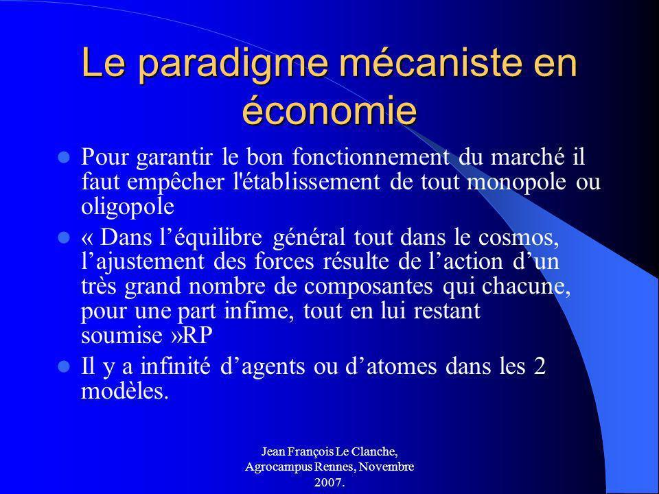 Jean François Le Clanche, Agrocampus Rennes, Novembre 2007. Le paradigme mécaniste en économie Pour garantir le bon fonctionnement du marché il faut e