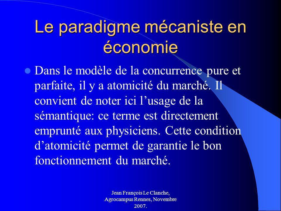 Jean François Le Clanche, Agrocampus Rennes, Novembre 2007. Le paradigme mécaniste en économie Dans le modèle de la concurrence pure et parfaite, il y