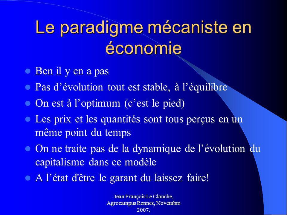 Jean François Le Clanche, Agrocampus Rennes, Novembre 2007. Le paradigme mécaniste en économie Ben il y en a pas Pas dévolution tout est stable, à léq