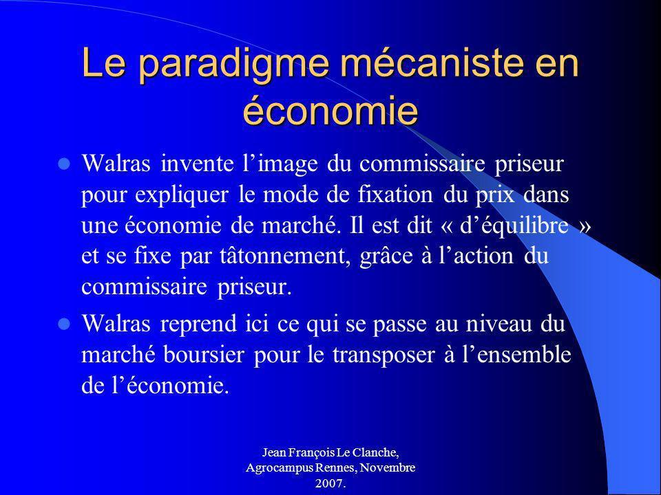 Jean François Le Clanche, Agrocampus Rennes, Novembre 2007. Le paradigme mécaniste en économie Walras invente limage du commissaire priseur pour expli