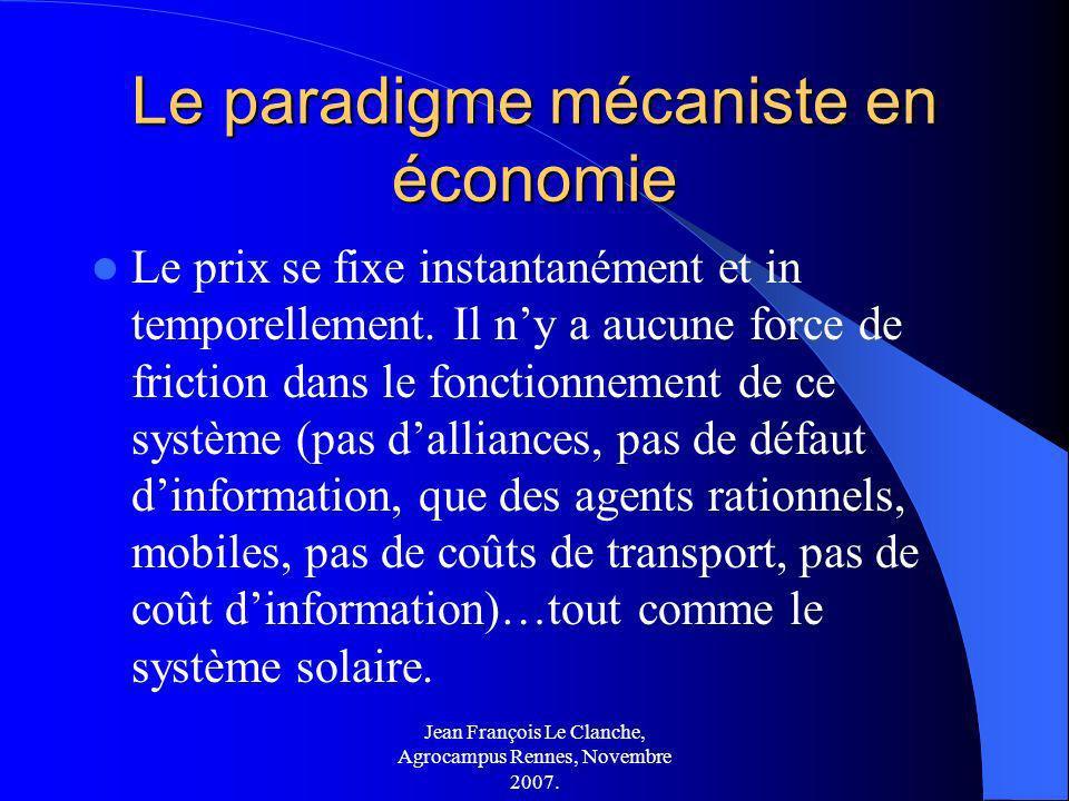 Jean François Le Clanche, Agrocampus Rennes, Novembre 2007. Le paradigme mécaniste en économie Le prix se fixe instantanément et in temporellement. Il