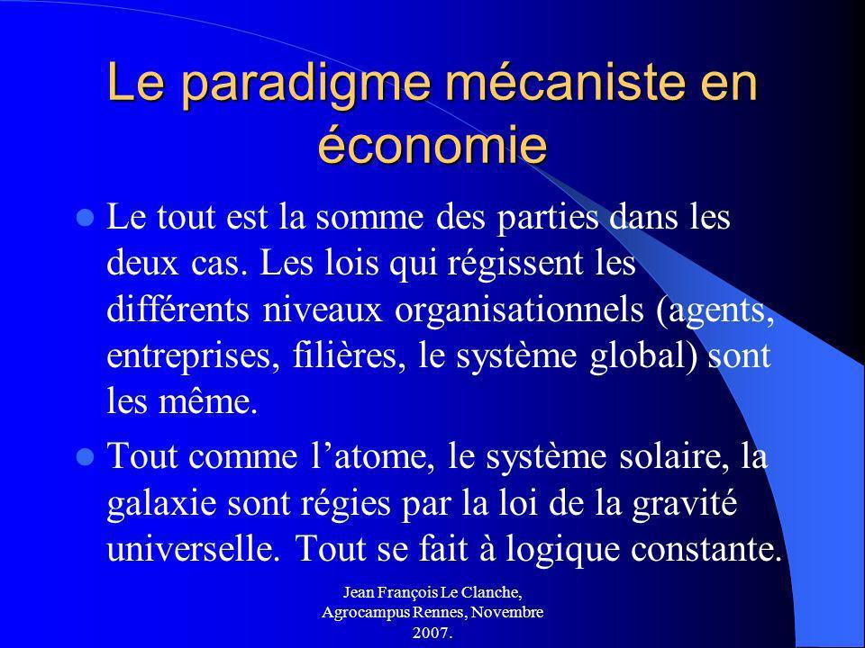 Jean François Le Clanche, Agrocampus Rennes, Novembre 2007. Le paradigme mécaniste en économie Le tout est la somme des parties dans les deux cas. Les