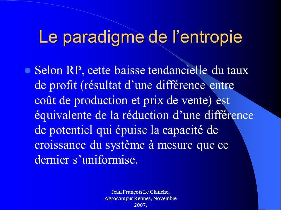 Jean François Le Clanche, Agrocampus Rennes, Novembre 2007. Le paradigme de lentropie Selon RP, cette baisse tendancielle du taux de profit (résultat