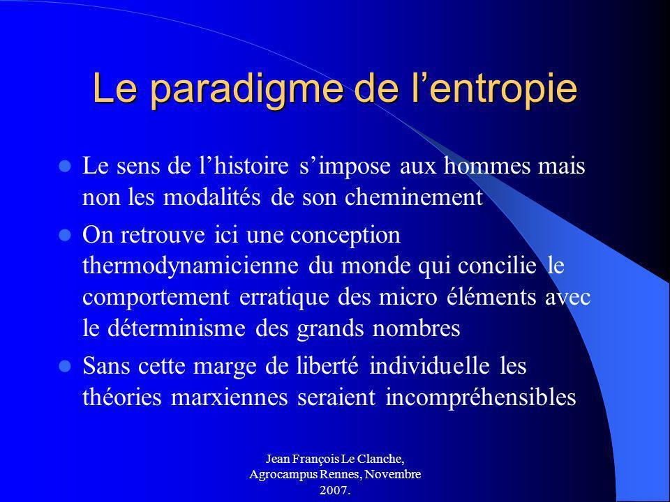 Jean François Le Clanche, Agrocampus Rennes, Novembre 2007. Le paradigme de lentropie Le sens de lhistoire simpose aux hommes mais non les modalités d