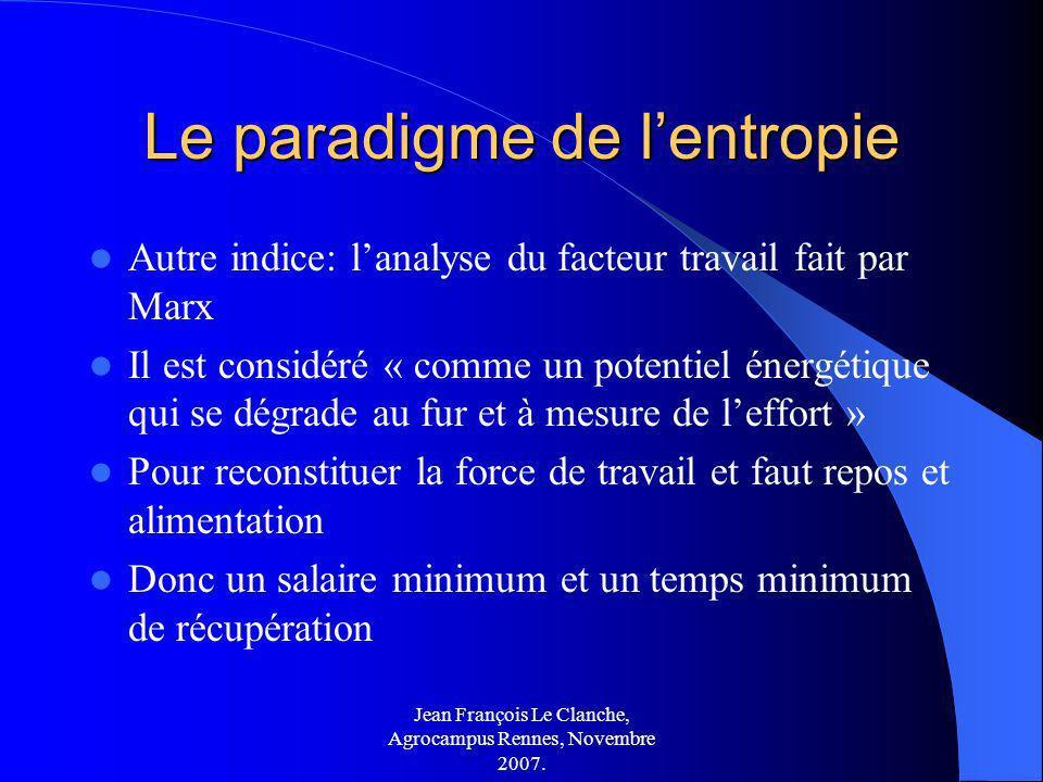 Jean François Le Clanche, Agrocampus Rennes, Novembre 2007. Le paradigme de lentropie Autre indice: lanalyse du facteur travail fait par Marx Il est c