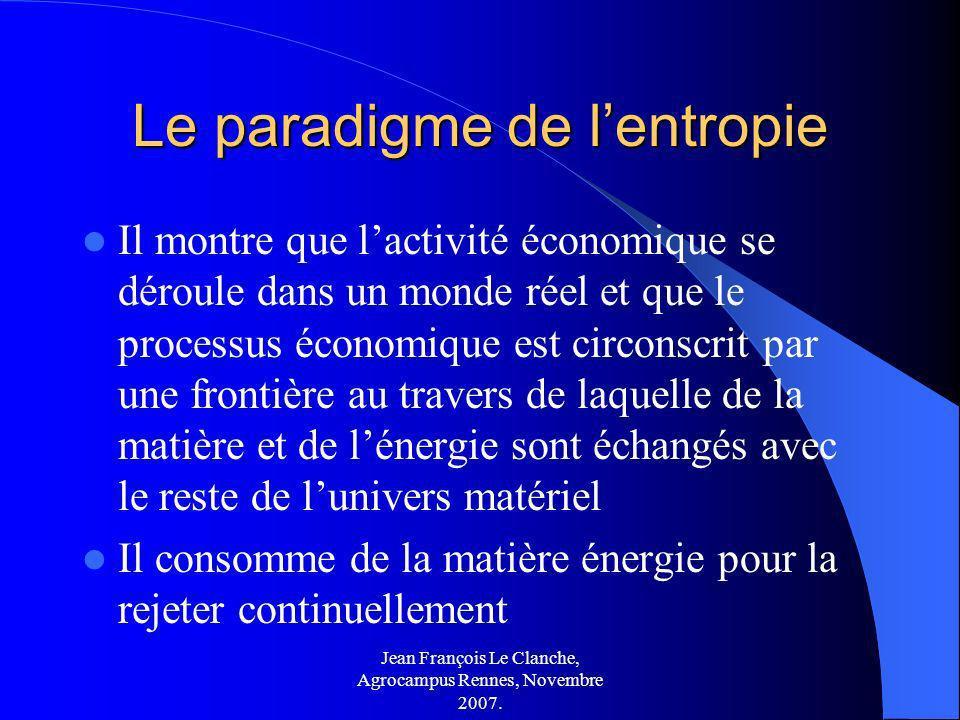 Jean François Le Clanche, Agrocampus Rennes, Novembre 2007. Le paradigme de lentropie Il montre que lactivité économique se déroule dans un monde réel