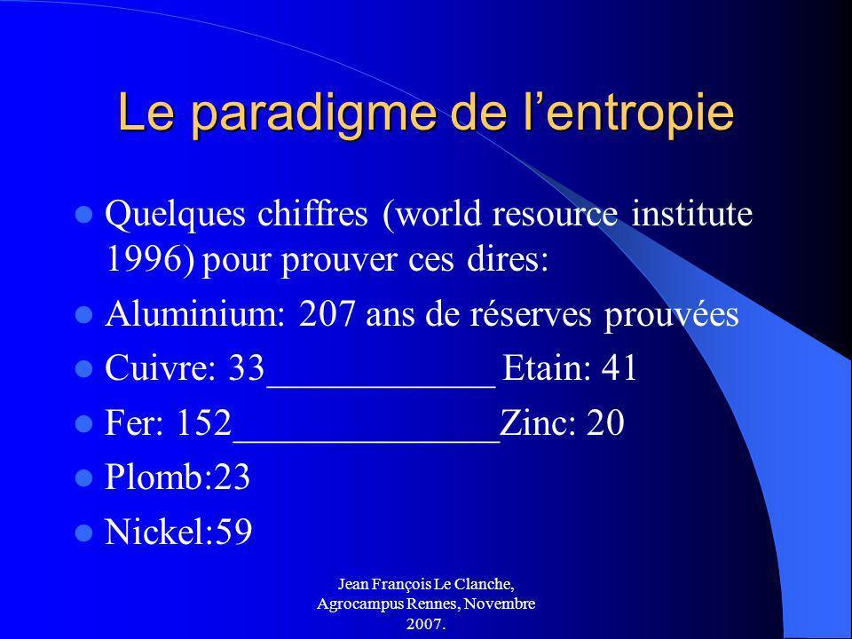 Jean François Le Clanche, Agrocampus Rennes, Novembre 2007. Le paradigme de lentropie Quelques chiffres (world resource institute 1996) pour prouver c