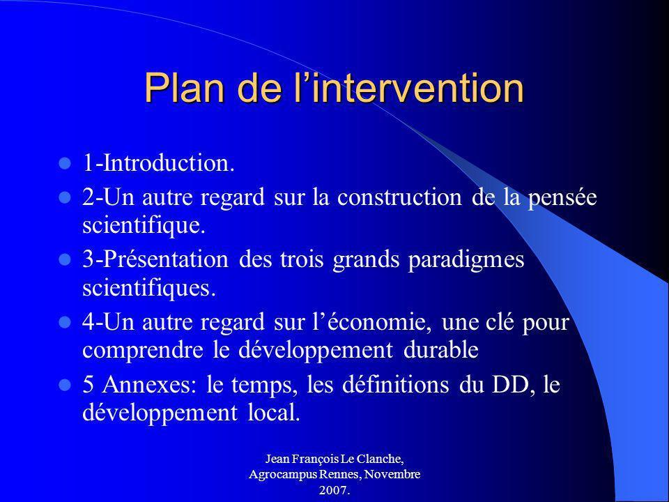 Jean François Le Clanche, Agrocampus Rennes, Novembre 2007. Plan de lintervention 1-Introduction. 2-Un autre regard sur la construction de la pensée s