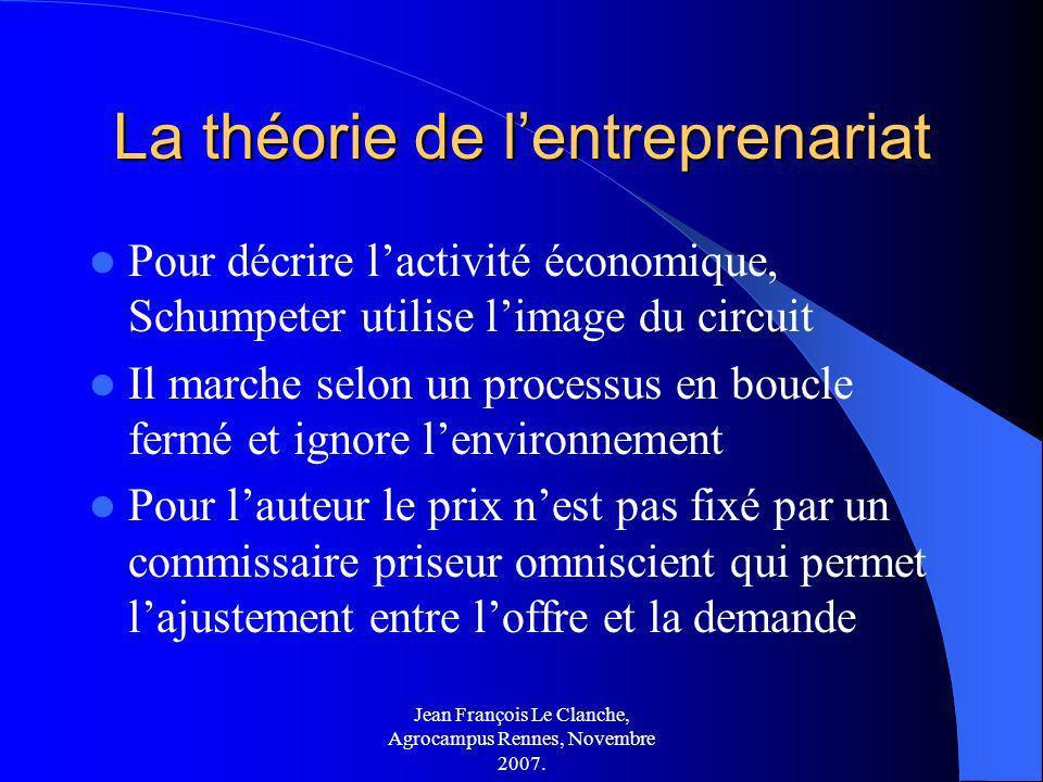 Jean François Le Clanche, Agrocampus Rennes, Novembre 2007. La théorie de lentreprenariat Pour décrire lactivité économique, Schumpeter utilise limage