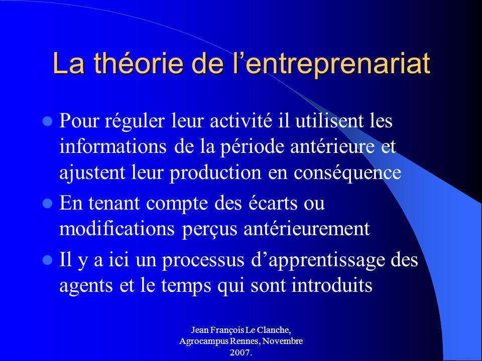 Jean François Le Clanche, Agrocampus Rennes, Novembre 2007. La théorie de lentreprenariat Pour réguler leur activité il utilisent les informations de