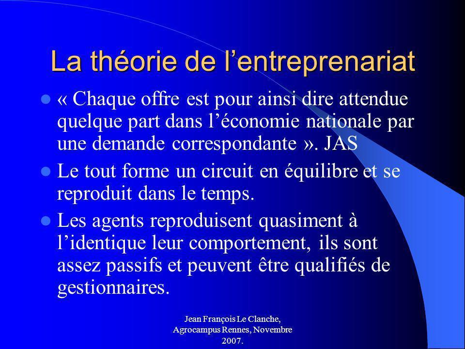 Jean François Le Clanche, Agrocampus Rennes, Novembre 2007. La théorie de lentreprenariat « Chaque offre est pour ainsi dire attendue quelque part dan