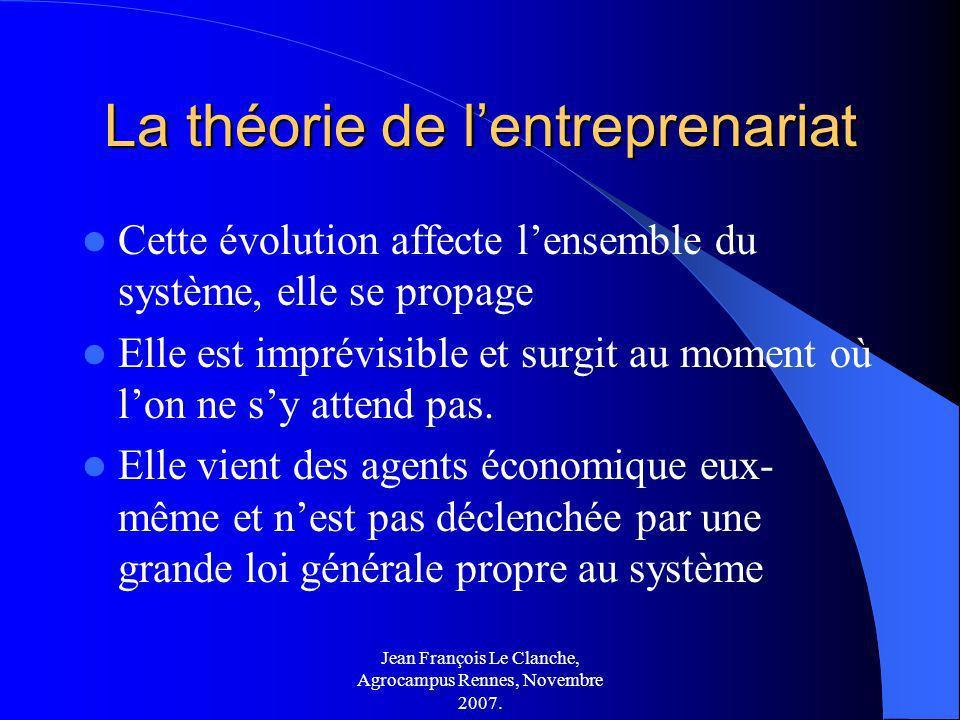 Jean François Le Clanche, Agrocampus Rennes, Novembre 2007. La théorie de lentreprenariat Cette évolution affecte lensemble du système, elle se propag