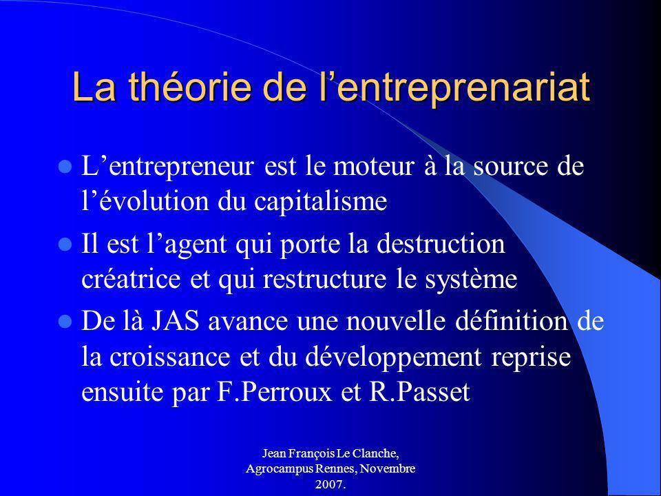 Jean François Le Clanche, Agrocampus Rennes, Novembre 2007. La théorie de lentreprenariat Lentrepreneur est le moteur à la source de lévolution du cap