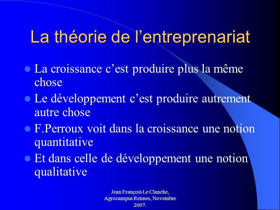 Jean François Le Clanche, Agrocampus Rennes, Novembre 2007. La théorie de lentreprenariat La croissance cest produire plus la même chose Le développem