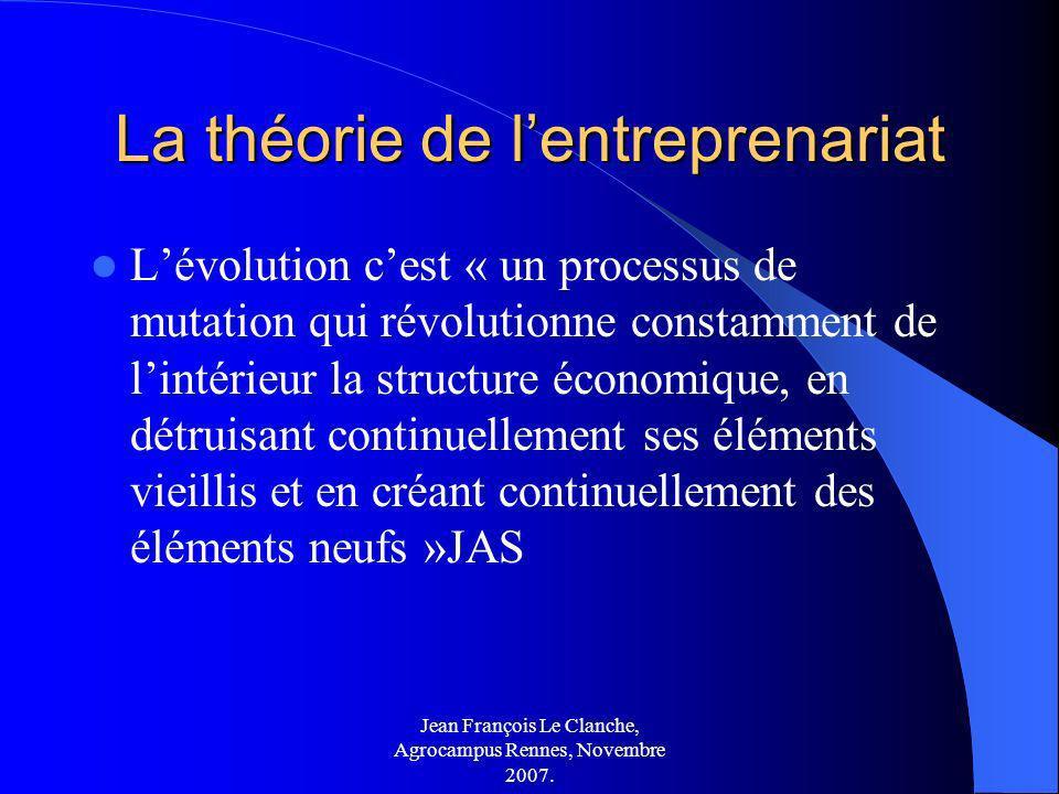Jean François Le Clanche, Agrocampus Rennes, Novembre 2007. La théorie de lentreprenariat Lévolution cest « un processus de mutation qui révolutionne