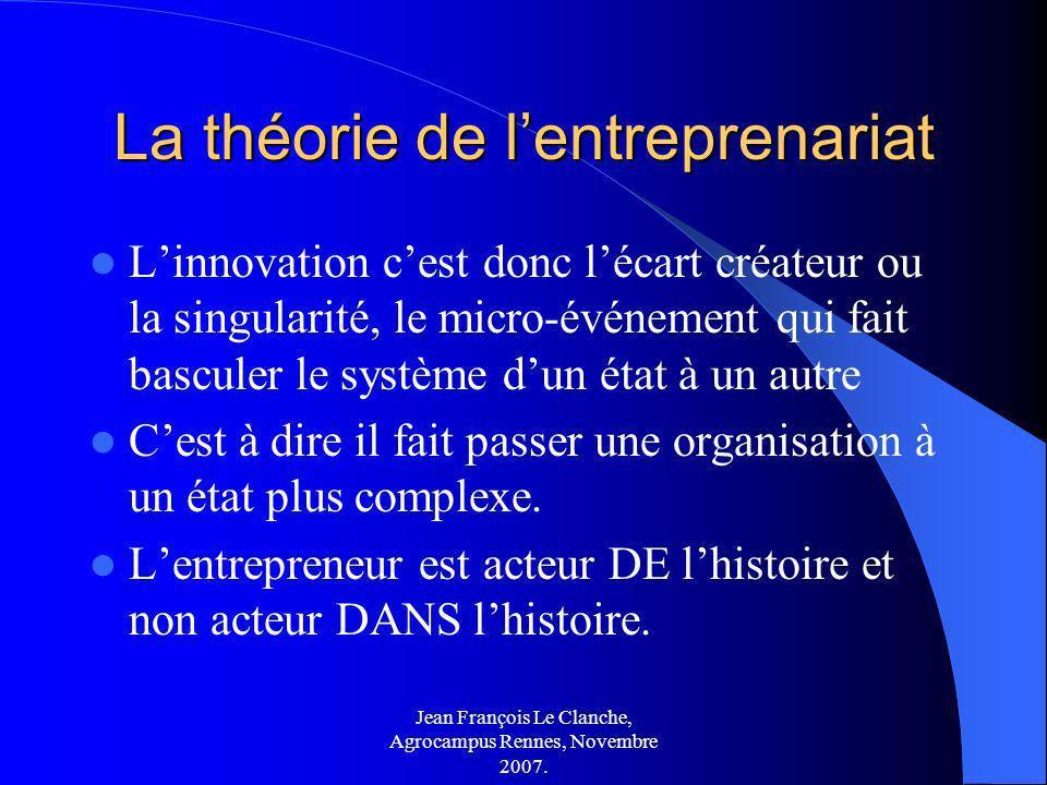 Jean François Le Clanche, Agrocampus Rennes, Novembre 2007. La théorie de lentreprenariat Linnovation cest donc lécart créateur ou la singularité, le