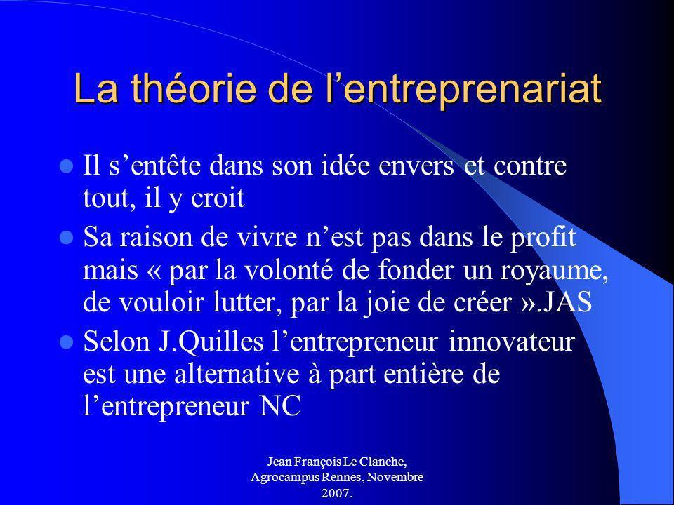 Jean François Le Clanche, Agrocampus Rennes, Novembre 2007. La théorie de lentreprenariat Il sentête dans son idée envers et contre tout, il y croit S