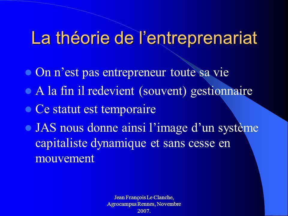 Jean François Le Clanche, Agrocampus Rennes, Novembre 2007. La théorie de lentreprenariat On nest pas entrepreneur toute sa vie A la fin il redevient