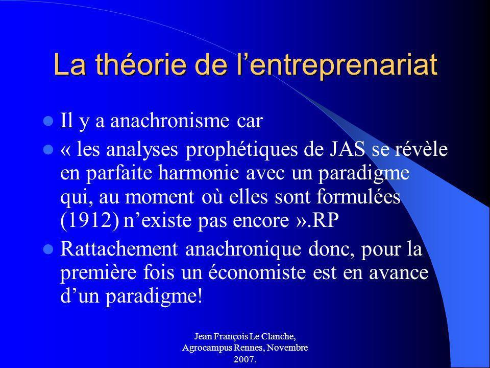 Jean François Le Clanche, Agrocampus Rennes, Novembre 2007. La théorie de lentreprenariat Il y a anachronisme car « les analyses prophétiques de JAS s