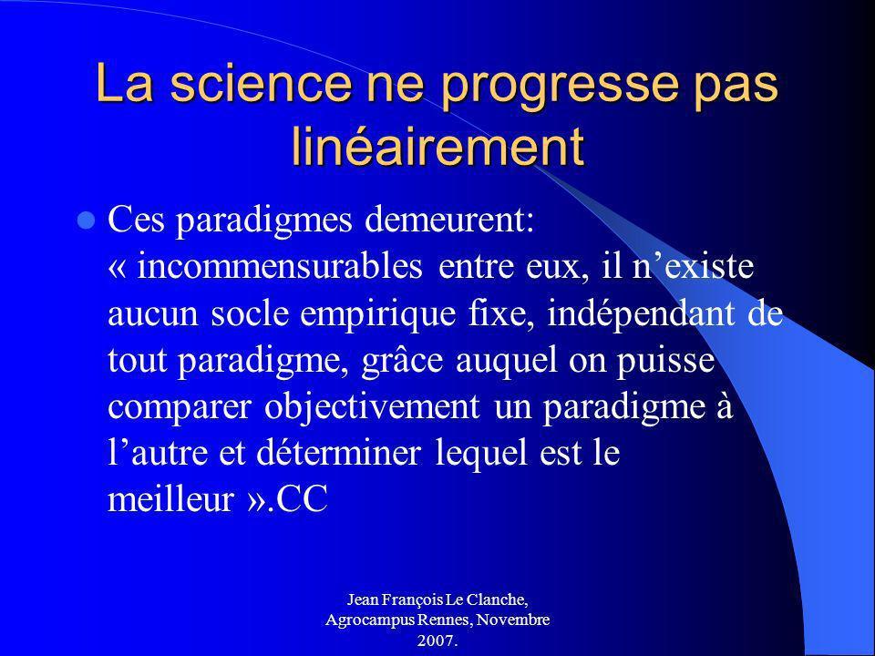 Jean François Le Clanche, Agrocampus Rennes, Novembre 2007. La science ne progresse pas linéairement Ces paradigmes demeurent: « incommensurables entr