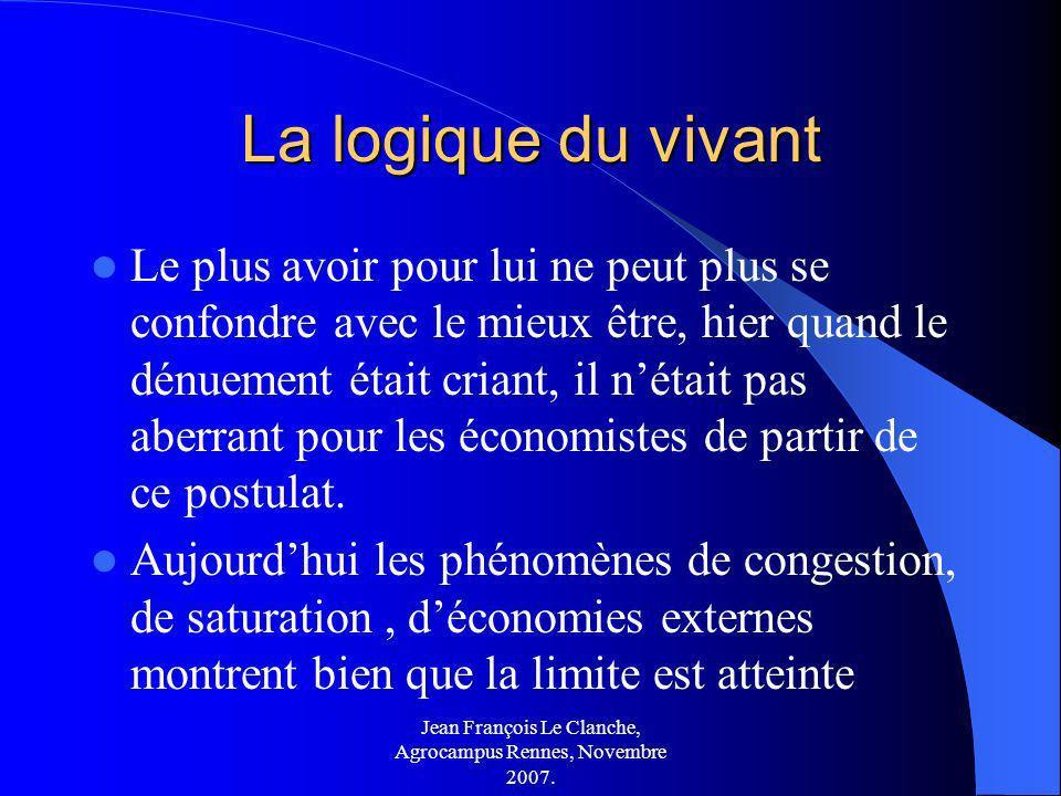 Jean François Le Clanche, Agrocampus Rennes, Novembre 2007. La logique du vivant Le plus avoir pour lui ne peut plus se confondre avec le mieux être,