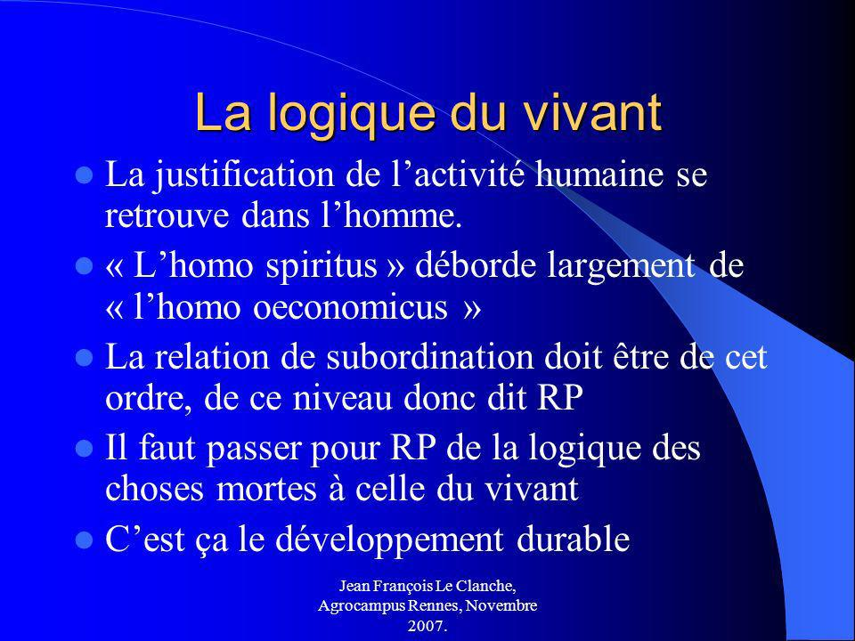 Jean François Le Clanche, Agrocampus Rennes, Novembre 2007. La logique du vivant La justification de lactivité humaine se retrouve dans lhomme. « Lhom