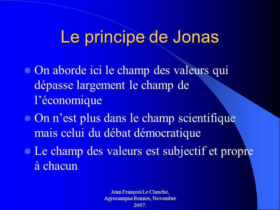 Jean François Le Clanche, Agrocampus Rennes, Novembre 2007. Le principe de Jonas On aborde ici le champ des valeurs qui dépasse largement le champ de