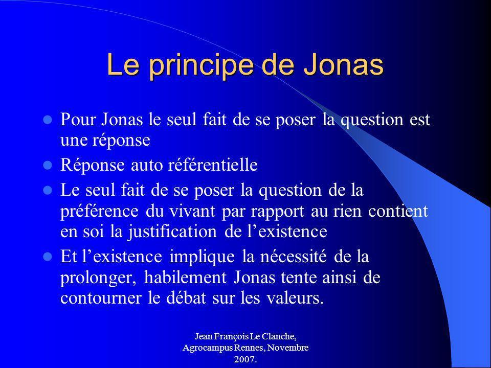 Jean François Le Clanche, Agrocampus Rennes, Novembre 2007. Le principe de Jonas Pour Jonas le seul fait de se poser la question est une réponse Répon