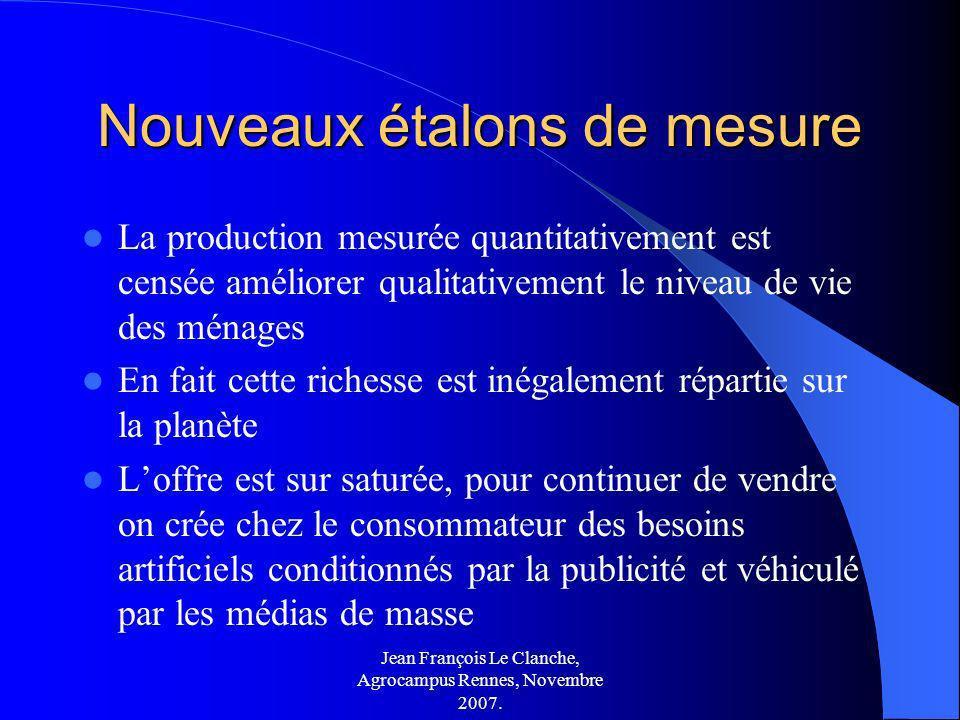 Jean François Le Clanche, Agrocampus Rennes, Novembre 2007. Nouveaux étalons de mesure La production mesurée quantitativement est censée améliorer qua