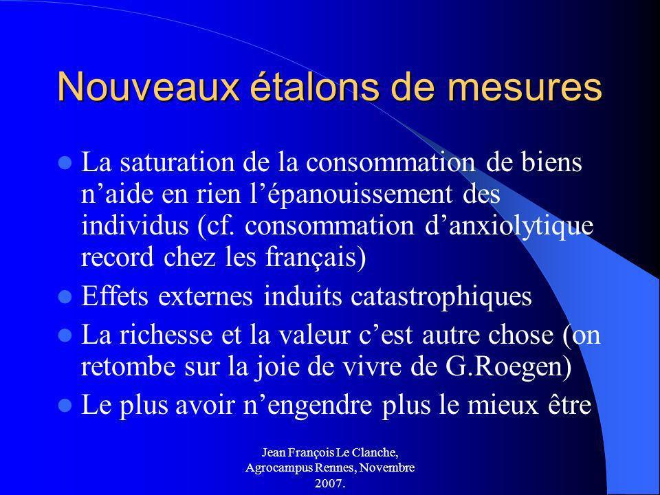 Jean François Le Clanche, Agrocampus Rennes, Novembre 2007. Nouveaux étalons de mesures La saturation de la consommation de biens naide en rien lépano