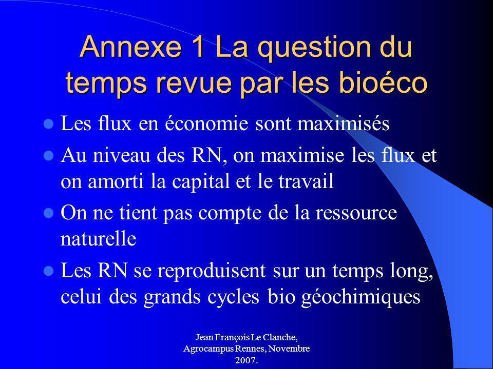 Jean François Le Clanche, Agrocampus Rennes, Novembre 2007. Annexe 1 La question du temps revue par les bioéco Les flux en économie sont maximisés Au