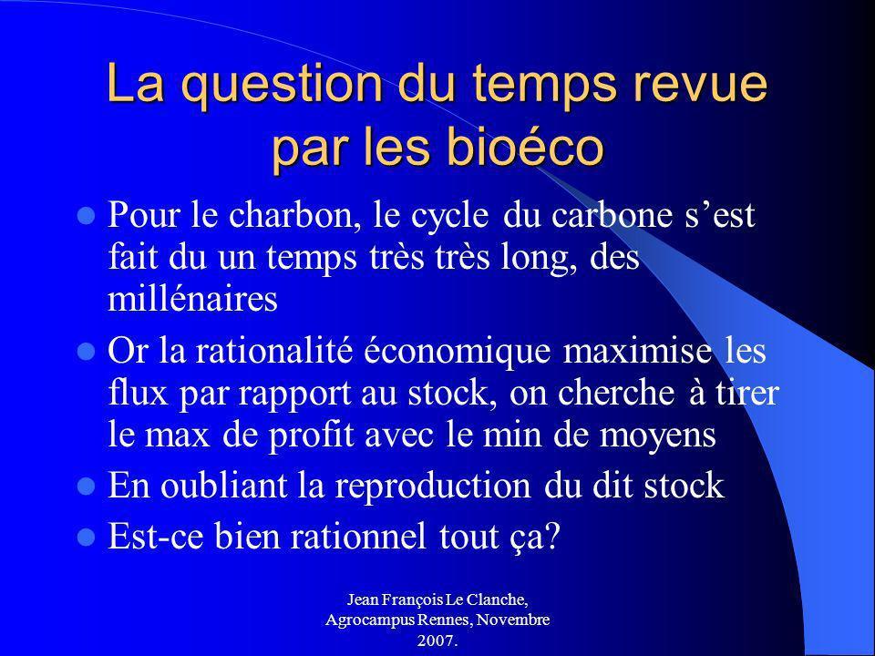 Jean François Le Clanche, Agrocampus Rennes, Novembre 2007. La question du temps revue par les bioéco Pour le charbon, le cycle du carbone sest fait d