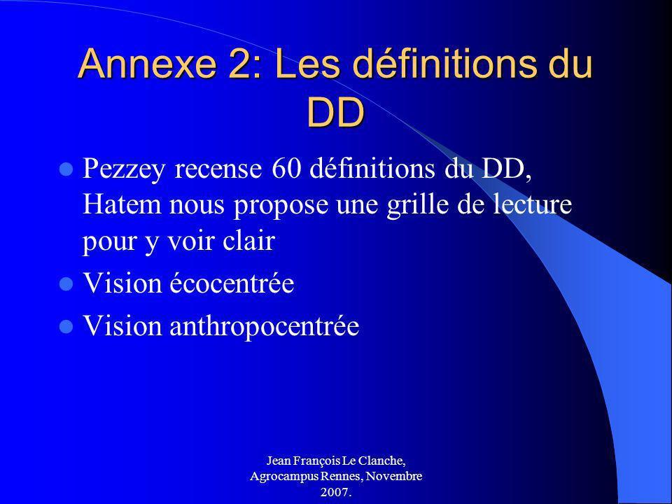Jean François Le Clanche, Agrocampus Rennes, Novembre 2007. Annexe 2: Les définitions du DD Pezzey recense 60 définitions du DD, Hatem nous propose un