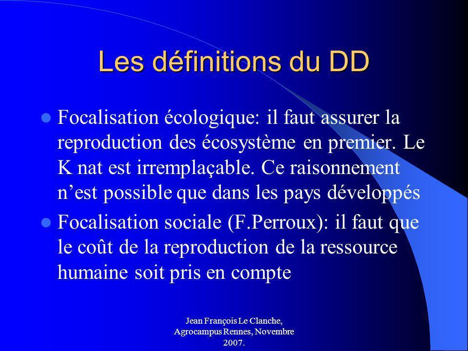 Jean François Le Clanche, Agrocampus Rennes, Novembre 2007. Les définitions du DD Focalisation écologique: il faut assurer la reproduction des écosyst