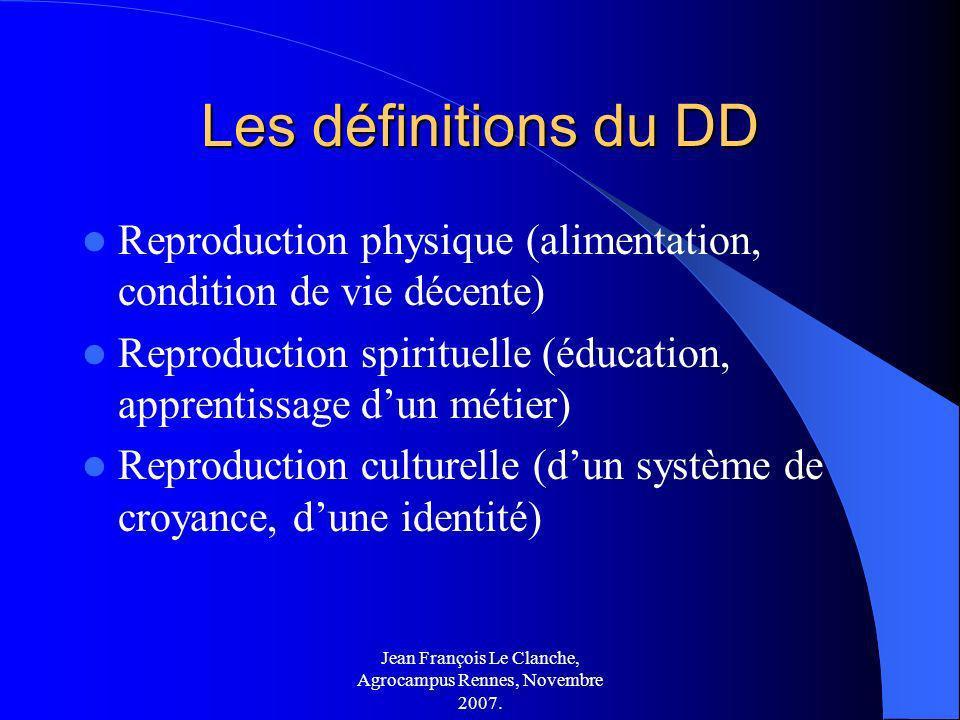 Jean François Le Clanche, Agrocampus Rennes, Novembre 2007. Les définitions du DD Reproduction physique (alimentation, condition de vie décente) Repro