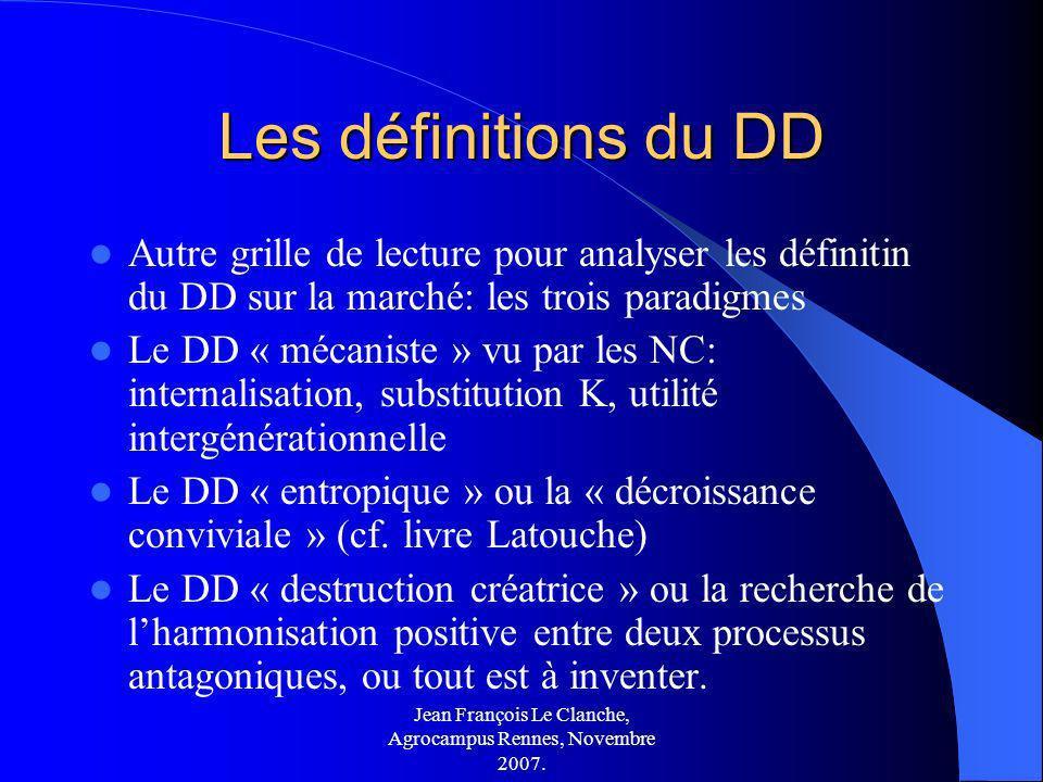 Jean François Le Clanche, Agrocampus Rennes, Novembre 2007. Les définitions du DD Autre grille de lecture pour analyser les définitin du DD sur la mar
