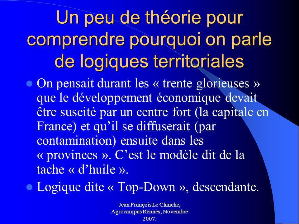 Jean François Le Clanche, Agrocampus Rennes, Novembre 2007. Un peu de théorie pour comprendre pourquoi on parle de logiques territoriales On pensait d