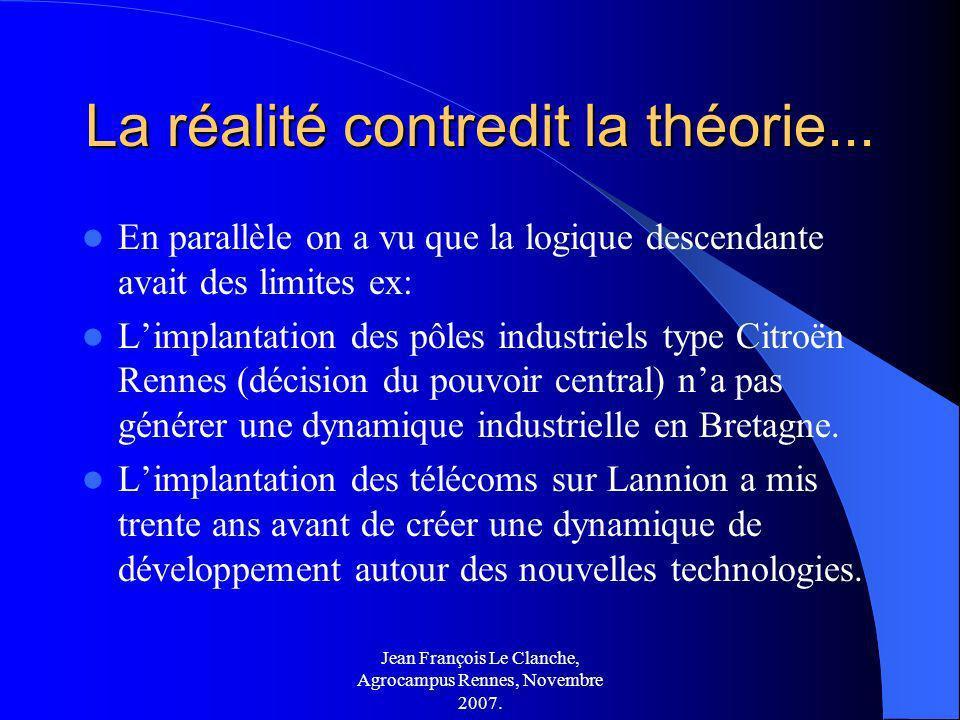 Jean François Le Clanche, Agrocampus Rennes, Novembre 2007. La réalité contredit la théorie... En parallèle on a vu que la logique descendante avait d