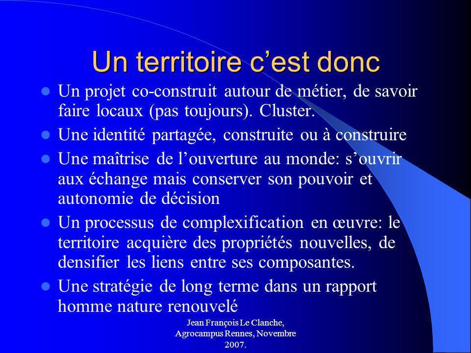 Jean François Le Clanche, Agrocampus Rennes, Novembre 2007. Un territoire cest donc Un projet co-construit autour de métier, de savoir faire locaux (p