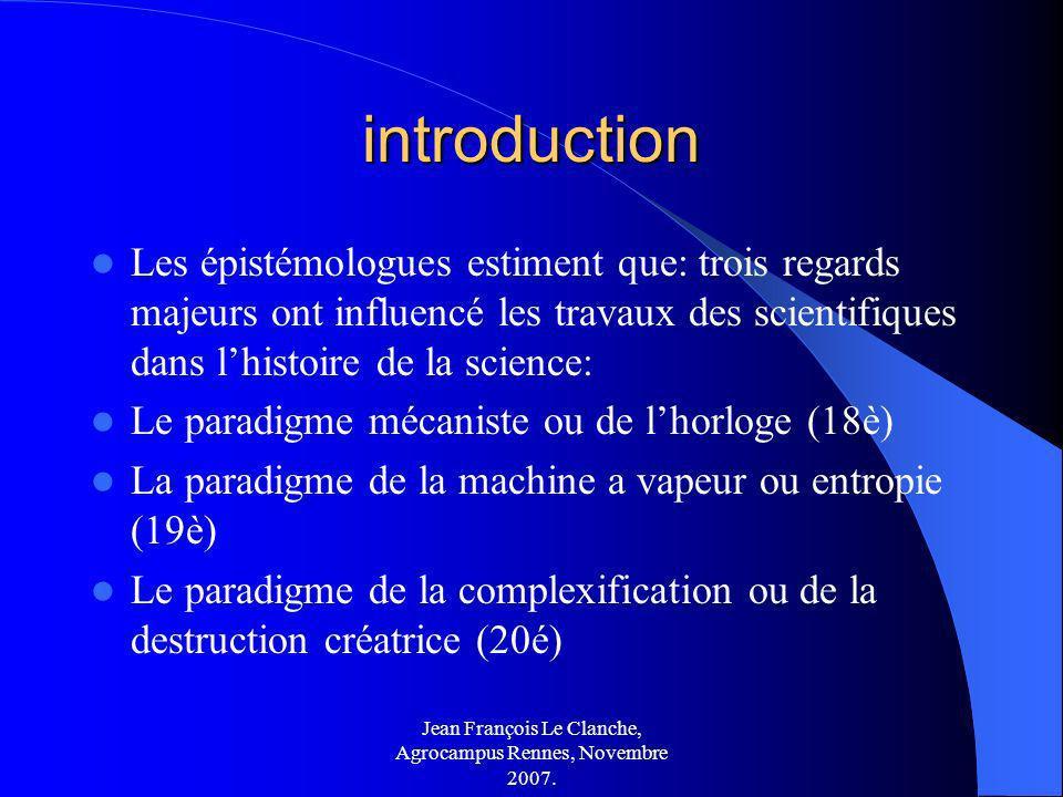 Jean François Le Clanche, Agrocampus Rennes, Novembre 2007. introduction Les épistémologues estiment que: trois regards majeurs ont influencé les trav